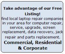 Services provided by listed shops/stores/centers: DC Jack Repair, Motherboard Repair, LCD Replacement / Repair, Liquid spill Repair, Keyboard / Touchpad Replacement, Virus, Malware Spyware Removal, Hard drive replacement, Data recovery, Memory upgrade, Video card / chip repair, Cooling system repair.